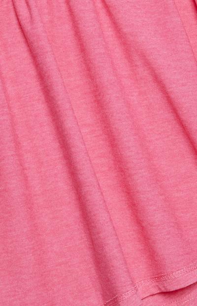 Rožnata majica z V-izrezom