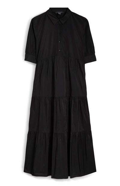Black Long Collar Dress