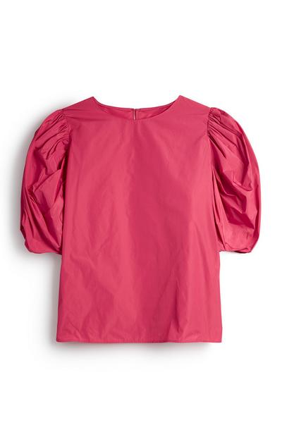 Pink Puff Sleeve Taffeta Blouse