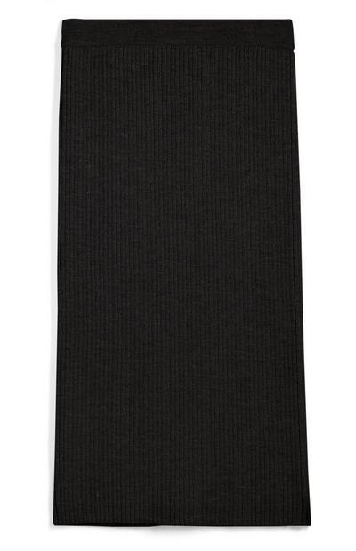Black Ribbed Co-ord Skirt