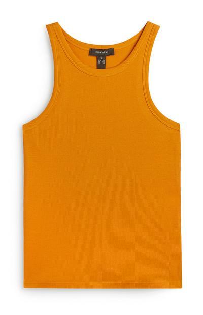 Débardeur orange côtelé à dos nageur