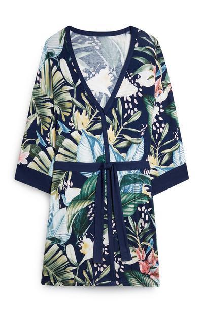 Navy Palm Print Pajama Robe