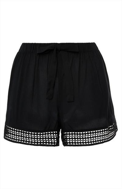 Black Cut Out Hem Viscose Pajama Shorts