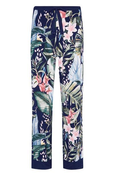 Navy Palm Print Viscose Pajama Pants