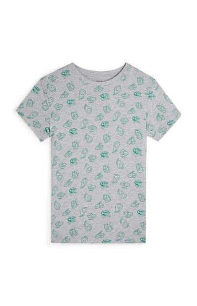 Grey And Green Tofu Print Short Sleeve T-Shirt