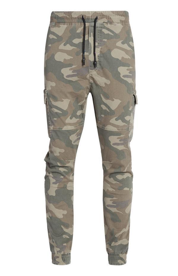 Pantaloni mimetici cargo con elastico sul fondo