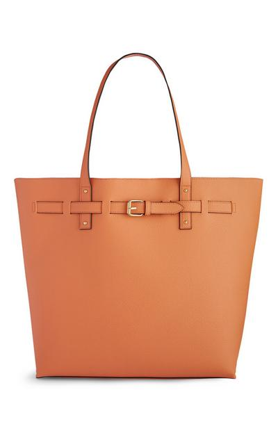 Orange Belted Shopper Bag