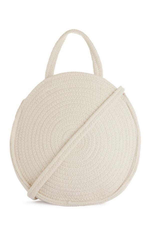 Runde Stofftasche in Weiß