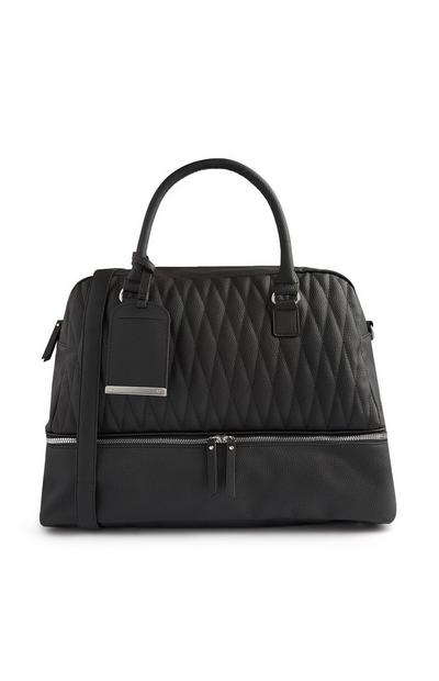 Black Quilted Zip Compartment Bag