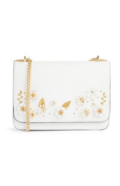 White Floral Embellished Cross Body Bag