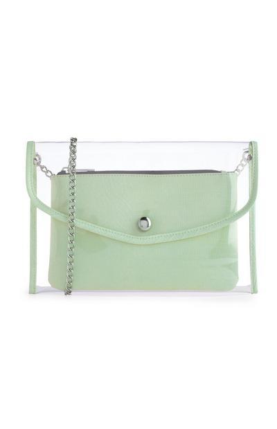 Pochette in Perspex con borsellino verde con stampa coccodrillo