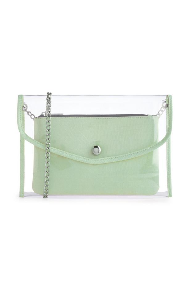 Green Transparent Croc Print Pouch
