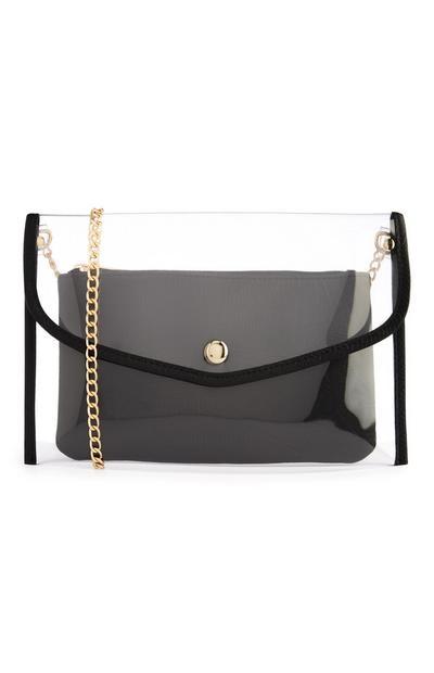 Pochette trasparente con borsellino nero con stampa coccodrillo