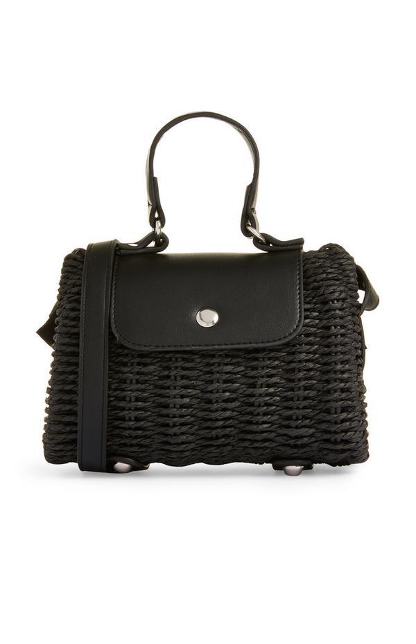 Schwarze Handtasche aus Korbgeflecht