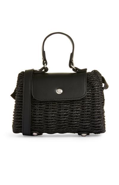Črna pletena ročna torbica