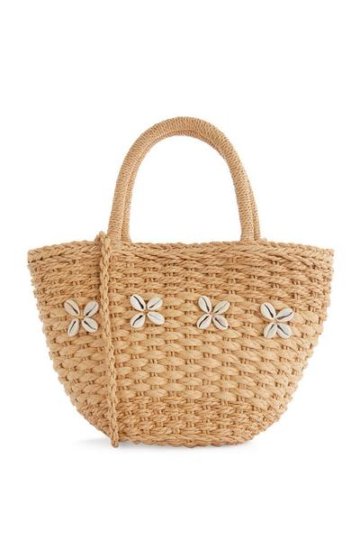 Brown Wicker Sea Shell Beach Bag