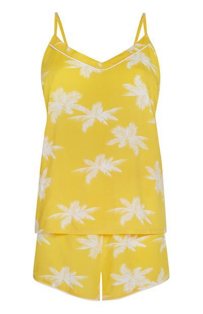 Yellow Palm Print Cami PJ Set