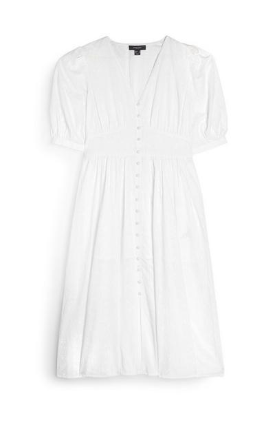 White Button Front Midi Tea Dress