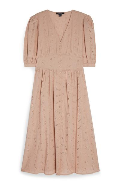 Pink Broiderie Button Front Midi Tea Dress