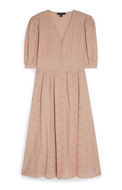 Vestido informal midi bordado botões frente cor-de-rosa