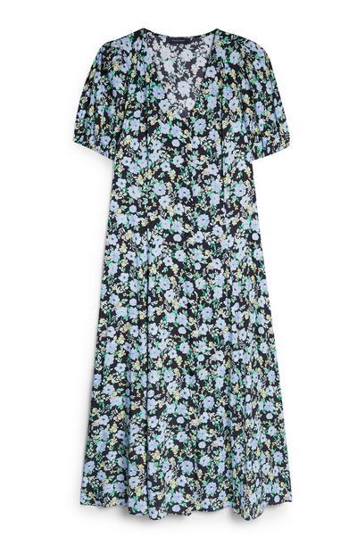 Blauw-groene gebloemde jurk met pofmouwen