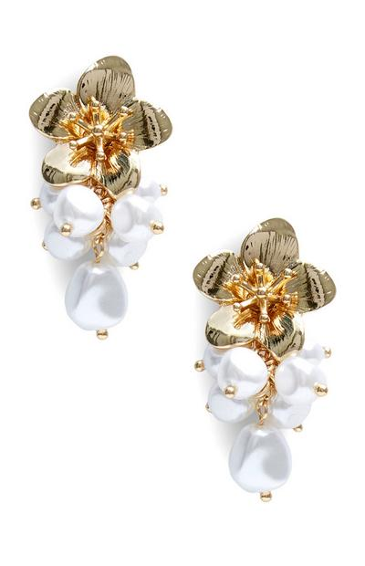 Pearl Cluster Flower Drop Earrings
