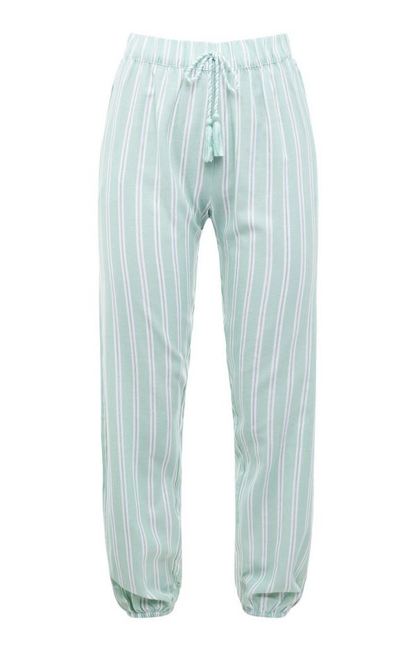 Mint Vertical Striped Woven Pajama Leggings