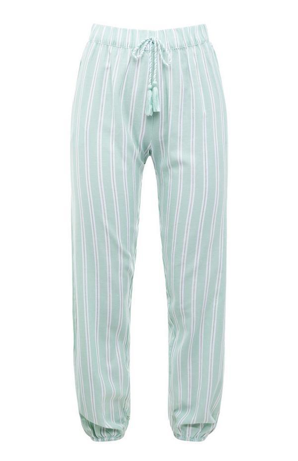 Mintgroene geweven pyjamalegging met verticale strepen