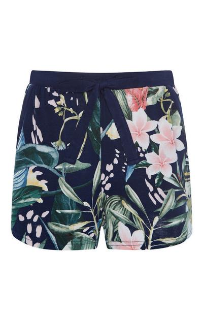 Navy Palm Print Pajama Shorts