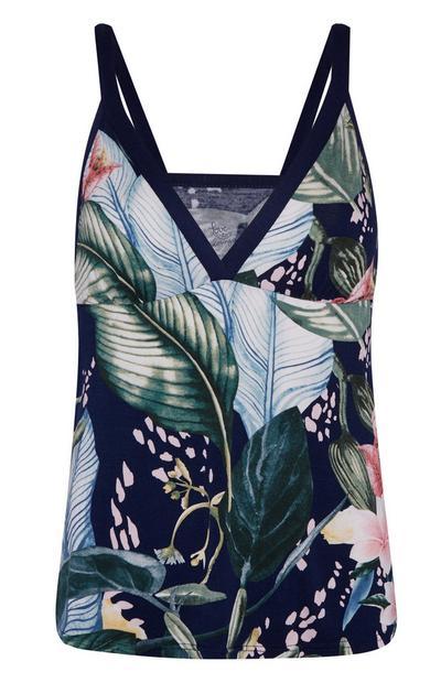 Navy Palm Print Jersey Knit Cami