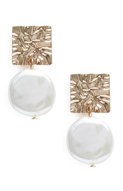 Square Metal Pearl Drop Earrings