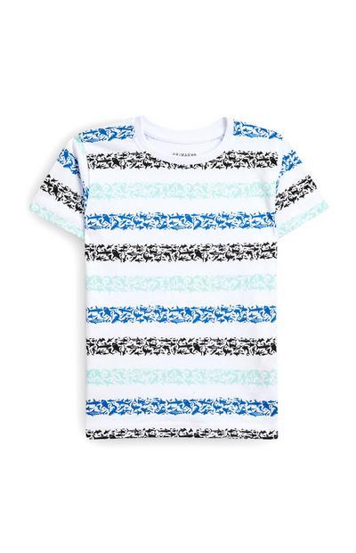 Blauw T-shirt met korte mouwen en haaienprint voor jongens
