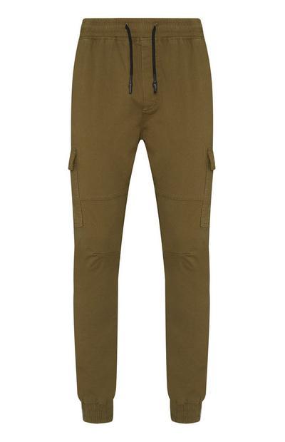 Khakifarbene Jogginghose mit Cargotaschen und Bündchen