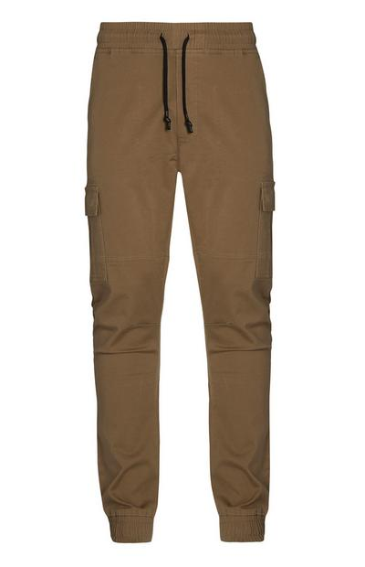 Brown Cuffed Cargo Pants