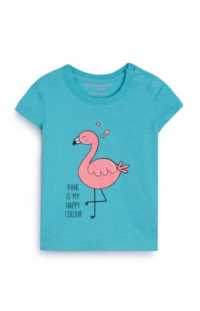 T-shirt bleu flamant rose bébé fille
