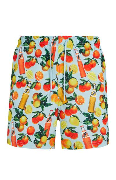 Blue Fanta Print Swim Shorts