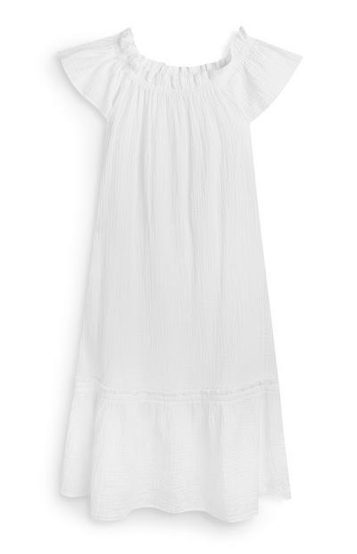 White Double Cloth Bardot Dress