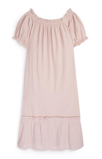 Blassrosa Bardot-Kleid aus Doppelgewebe