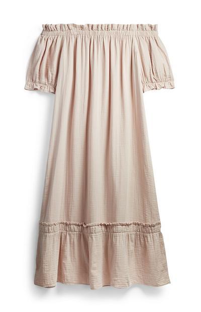 Rosafarbenes Bardot-Kleid aus Doppelgewebe