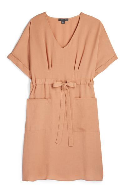 Peach Drawstring Waist Tunic