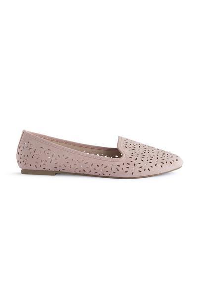 Pink Rhinestone Laser Cut Loafers