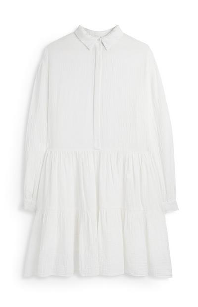 White Double Cloth Tiered Shirt Dress