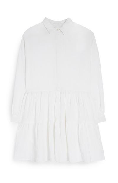 Gestuftes Hemdkleid aus Doppelgewebe