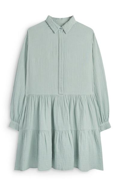 Mint Double Cloth Tiered Shirt Dress