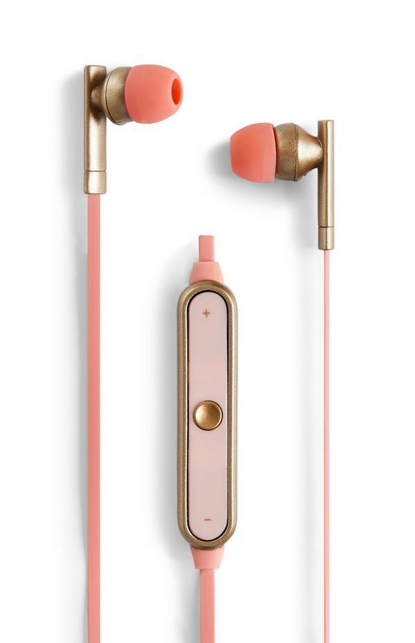 Auriculares s/ fios rosa metalizado