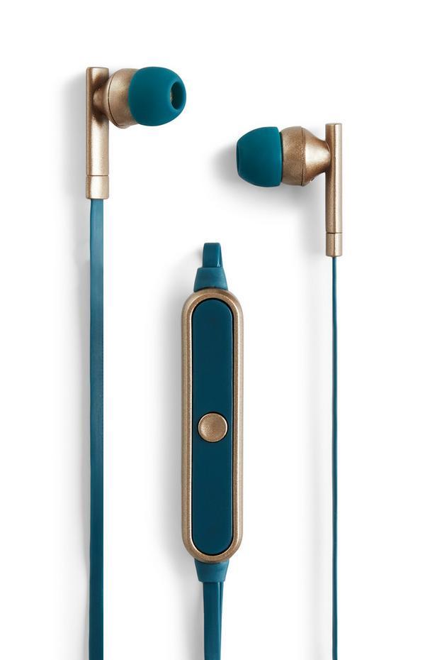 Blauwe metallic draadloze oordopjes