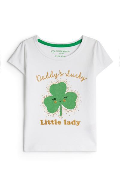 White Baby Girl St Patricks Day Shamrock T-Shirt