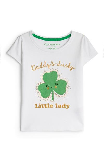 Baby Girl White St. Patrick's Day Happy Clover T-Shirt