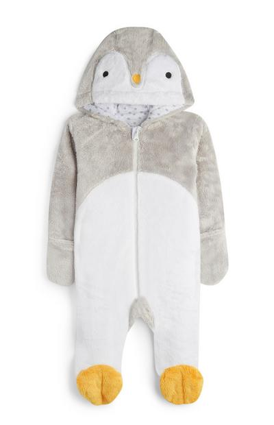 Grey Penguin Onesie Sleepsuit