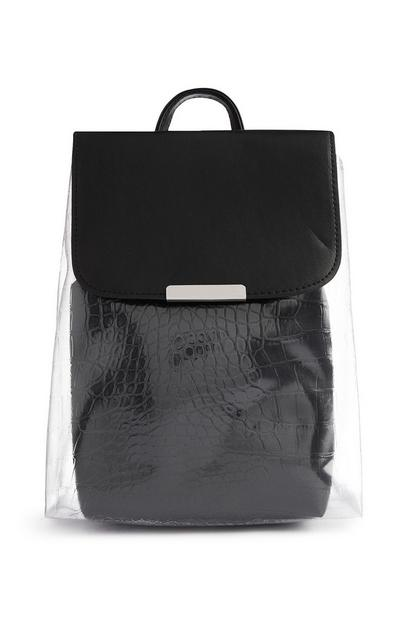 Black Croc Print Transparent Backpack